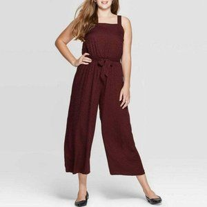 Burgundy Square Neck Elastic Waist Jumpsuit Size S